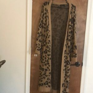 Leopard Print Duster Length Cardigan